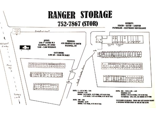 Ranger Storage - Kalispell Storage Units Facility Map